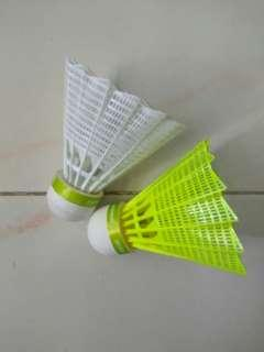 2 badminton plastic shuttlecocks