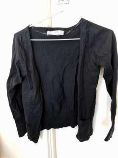 Zara TRF Black Cardigan Knit