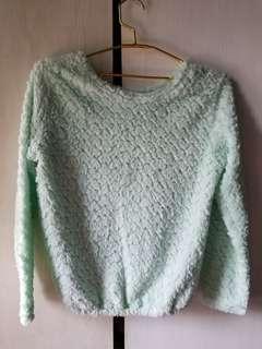 Mint green fur sweater
