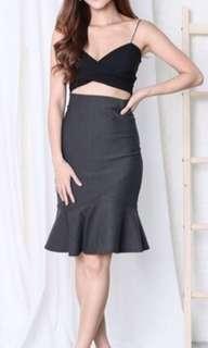 🚚 Topazette Classic Mermaid Bodycon Skirt in Grey