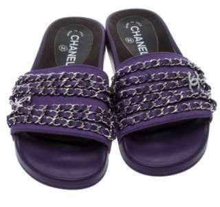 Authentic Chanel Slipons in Purple and Chains Size 37