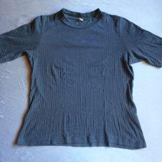 Uniqlo 3/4s Navy Blue Ribbed Top