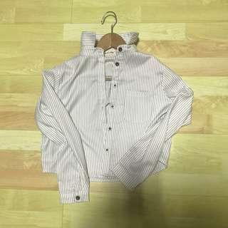 nwot striped button down crop top