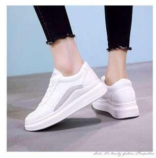 White sneakers with grey detailing - Korean