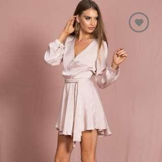 Lioness blush pink wrap dress