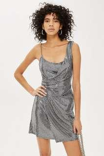 Bnwt topshop new arrival silver bling dress