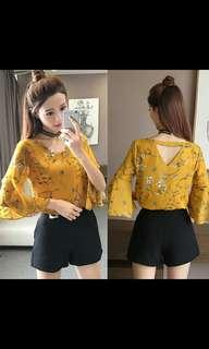 Floral Bell Sleeves Blouse