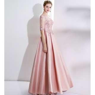 Gown Collection - Fairy Light Pink Mid Length Lace Sleeves Gown