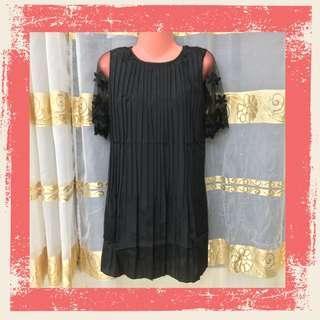 Floral Sleeve Dress - Black