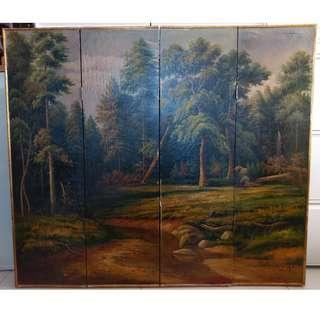 Rolinson實木油畫屏風 Foldable screen with oil painting