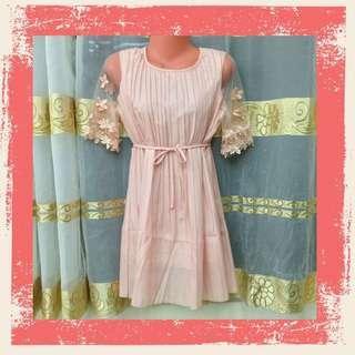 Floral Sleeve Dress - Peach Pink