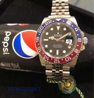 Rolex 126710BLRO GMT-Master II Black Red/Blue 'Pepsi' Bezel with Jubilee bracelet.