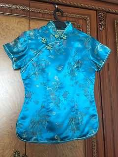 Pure Silk Chinese Traditional Top Blue Size S