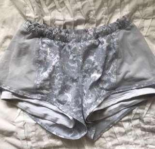 Lululemon lined running shorts w4 Aus 8 grey and white