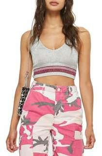 Promo A : Bnwt new arrival silver pink crop knit top