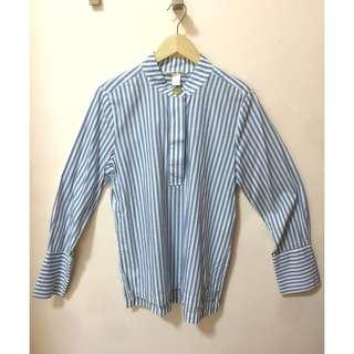 Preloved H&M Polo for women, blue and white stripes, EUR38