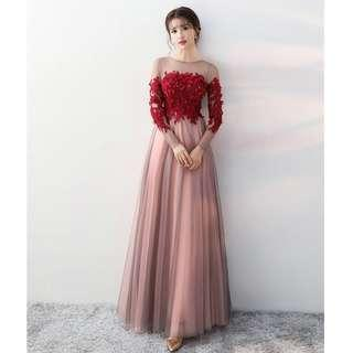 Gown Collection - Blossom Red Flowers Design Long Sleeves Gown