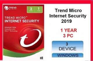 [ Genuine ] Trend Micro Internet Security 2019 - 1 YEAR 3 PC
