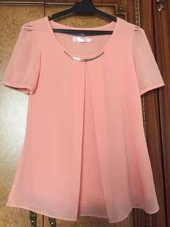 Korean Style Peach Blouse with Metal Accessory