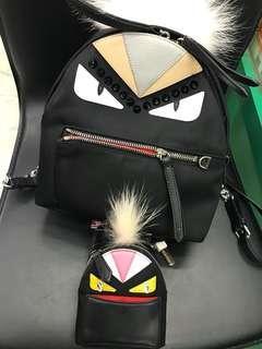 Jerry媽媽-fendi後背包+怪獸鑰匙包整組賣