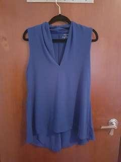 Blue V neck sleeveless top