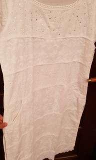 Traditional Indian white embroidery kurta