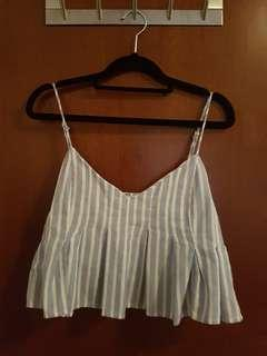 Blue and white stripe crop top