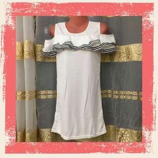 Cold Shoulder Jersey Dress - White