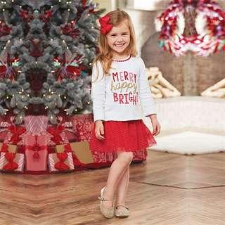 Merry Happy Bright Long Sleeve Top Tutu Skirt 2 Piece Set