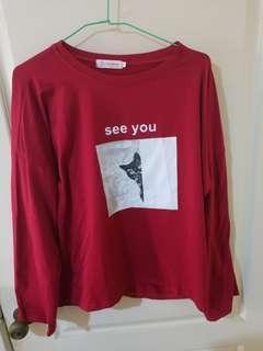 🚚 紅色學生寬鬆長袖上衣