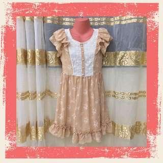 Vintage Style Ruffled Chiffon Dress