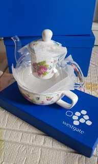 Floral Glass Teapot with ceremic cup Set (2 designs)