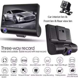 3 Lens Car Camera - Front, Inside, Rear. Complete Set as Per Photo (Ready Stock)