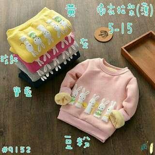 小兔子薄款長袖上衣5-15 黃、粉