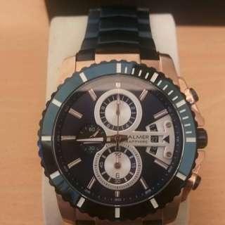 賠售 瑞士 賓馬BALMER 潛水錶白刻度外圈 藍玫瑰金 鋼錶 7980
