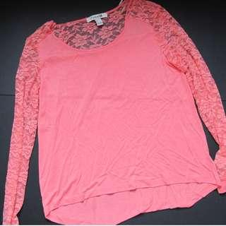 Forever 21 salmon pink long sleeve lacey top
