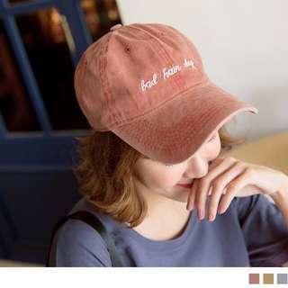 橘紅色高含棉英文草寫壓舌棒球帽