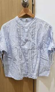 Baby blue chinese collar blouse