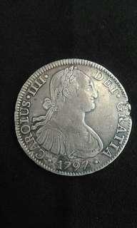 1797 Spanish Hispan King Carolus IIII 8 Reales(Silver)