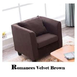 🚚 Single Soda Seater - Velvet Brown