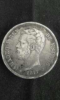 1871 Spain King Amadeo I 5 Pesetas(Silver)