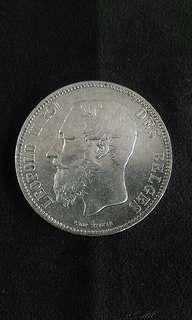 1874 Belgium King Leopard II 5 Francs(Silver)