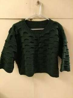 Brand new dark green knitted sweater top blouse 墨綠色短身冷衫襯衣