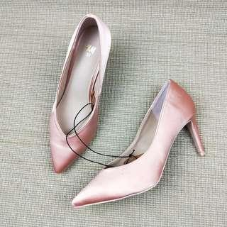 H&M Satin Pink Pointed Heel size 37 #oct10