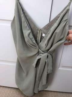 Khaki tie jump suit