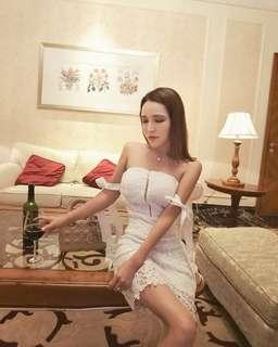 Ribbon off-shoulder lace dress #OCT10
