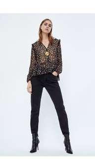 ZARA floral chiffon blouse