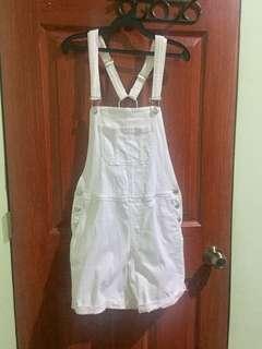 Mango white denim jumper shorts