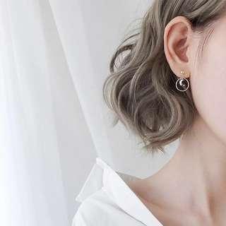 Buy 3 get 1 free 💋moon shape earrings S925 sliver anti-allergy  💋純銀簡約月亮圓圈系列耳環 防敏感