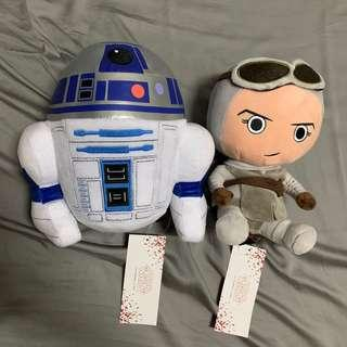 Star Wars The Force Awakens Plushies - Rey & R2-D2